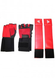 Trainingshandschuhe, ADIDAS Shadow Fitness, rot/schwarz