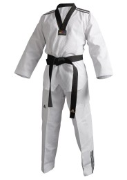 Taekwondo Dobok, ADIDAS Adi Club 3 Stripes, black lapel