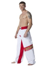 Kickboxing Pants, DAX Top Ring, white/red