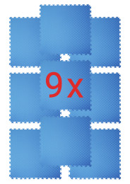 Home Dojo Deluxe / 9 x Puzzle Mats (MAT 036), red / blue