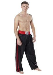 Kickboxhose, DAX Fighter, satin, schwarz/rot