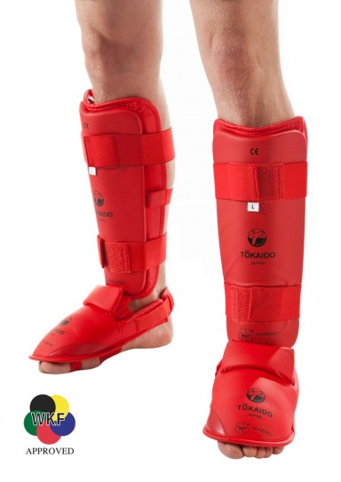 Karate Shin/Foot Guard, TOKAIDO, WKF approved, red