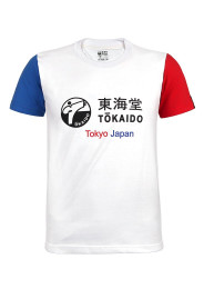 Men's T-Shirt, TOKAIDO Aka / Ao, white