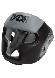 Head Guard, DAX Rebound Sparring, leather, black/grey