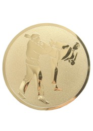 Medal inlayer, KARATE KICK, GOLD, 50 mm