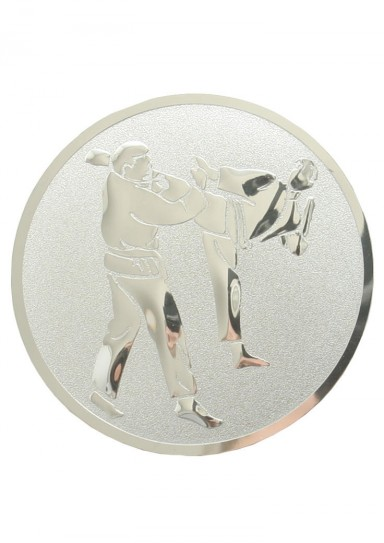Medal inlayer, KARATE KICK, SILVER, 50 mm