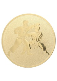 Medal inlayer, KARATE TSUKI, GOLD 50 mm