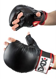 Sparring Gloves, DAX Grip, leather, black