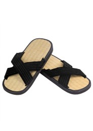 Zori Sandals with rice straw, black